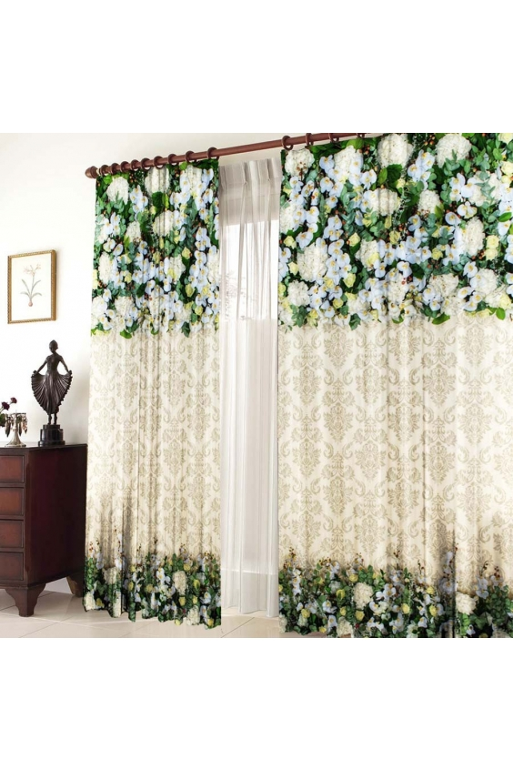 Шторы для комнатыДля комнаты<br>Чудесные шторы для комнаты. Украсте свой дом с нашими изделиями  Цвет: белый, бежевый, зеленый.  В комплект входят: Размер: 145 * 270 ± 5 см * 2 шт   Крепление: Шторная лента (на обычный карниз)<br><br>По стилю: Классические шторы,Раздвижные шторы<br>По материалу: Тканевые<br>По рисунку: Растительные мотивы,С принтом (печатью),Цветные,Цветочные<br>Карниз: Однорядный<br>Размеры: До пола<br>Размер: 290*270<br>Материал: 100% полиэстер<br>Количество в наличии: 1