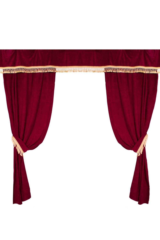 Комплект штор для комнатыДля комнаты<br>Чудесные шторы для комнаты. Украсьте свой дом с нашими изделиями  В  комплекте: 2 портьеры 130*260 см., ламбрекен в распущенном виде 420 см. Длина карниза до 200 см.  Цвет: бордовый, бежевый<br><br>Карниз: Двухрядный<br>Отделка края: Отделка бахромой<br>По материалу: Портьерные ткани<br>По рисунку: Однотонные<br>По способу крепления: С ламбрекеном<br>По стилю: Классические шторы<br>Размеры: До пола<br>Размер : 2,6*2,6<br>Материал: Бархат<br>Количество в наличии: 1