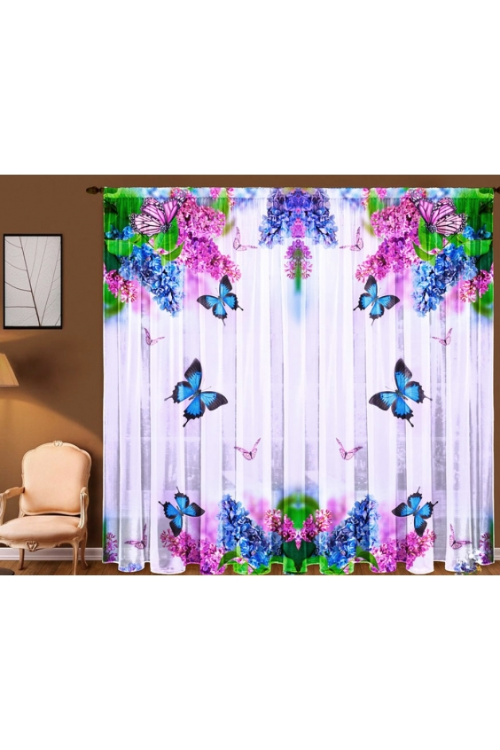 Шторы для комнатыДля комнаты<br>Чудесная тюль для комнаты, состоящая из двух полотен. Украсте свой дом с нашими изделиями  Цвет: белый, сиреневый, розовый и др.  В комплект входят: 2 полотна размером 1,45 * 2,70 ± 5 см<br><br>Карниз: Однорядный<br>По материалу: Вуаль<br>По рисунку: Бабочки,Растительные мотивы,С принтом (печатью),Цветные,Цветочные<br>По стилю: Классические шторы<br>Размеры: До пола<br>Размер : 290*270<br>Материал: Вуаль<br>Количество в наличии: 1