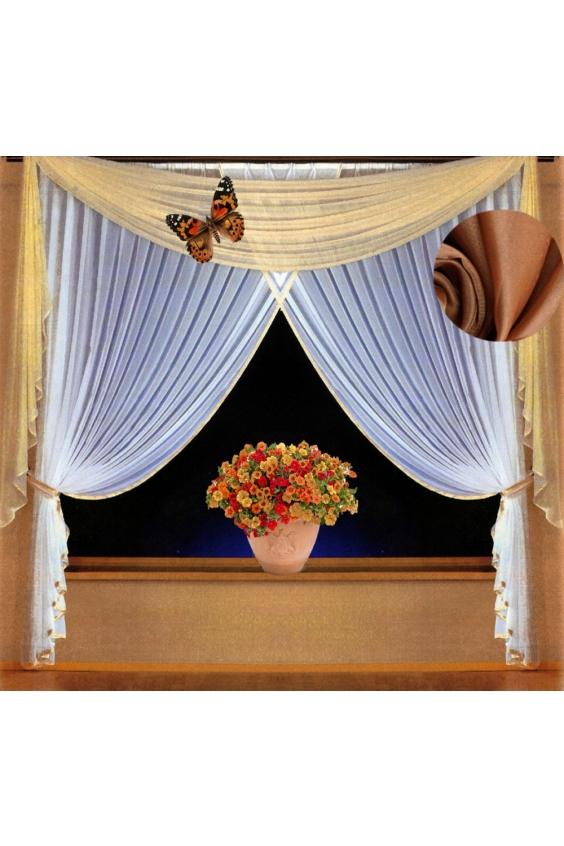 Шторы для комнатыДля комнаты<br>Чудесные шторы для комнаты. Украсте свой дом с нашими изделиями  Цвет: белый, темно-бежевый.  В комплект входят: Шторы: 200 * 250 ± 5 см * 2 шт Ламбрекен: 600*150 ± 5 см  Крепление: Шторная лента (на обычный карниз)<br><br>Карниз: Двухрядный<br>По материалу: Вуаль<br>По рисунку: Цветные<br>Размеры: До пола<br>Размер : 400*250<br>Материал: Вуаль<br>Количество в наличии: 1
