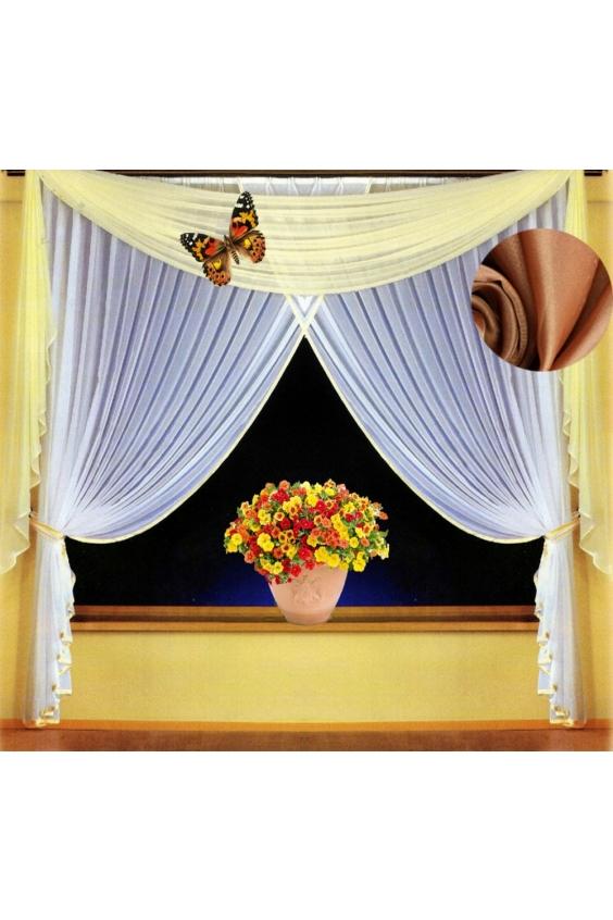 Шторы для комнатыДля комнаты<br>Чудесные шторы для комнаты. Украсте свой дом с нашими изделиями  Цвет: белый, кремовый.  В комплект входят: Шторы: 200 * 250 ± 5 см * 2 шт Ламбрекен: 600*150 ± 5 см  Крепление: Шторная лента (на обычный карниз)<br><br>Карниз: Двухрядный<br>По материалу: Вуаль<br>По рисунку: Цветные<br>Размеры: До пола<br>Размер : 400*250<br>Материал: Вуаль<br>Количество в наличии: 1
