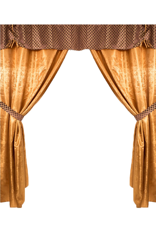 Комплект штор + 2 подушкиДля комнаты<br>Чудесный комплект для комнаты. Украсьте свой дом с нашими изделиями  В комплекте 2 шторы, 2 подхвата, ламбрекен и 2 подушки 37*37 см.  Длина карниза до 200 см.  В изделии использованы цвета: коричневый, желтый<br><br>Карниз: Трехрядный<br>По материалу: Портьерные ткани,Тканевые<br>По рисунку: Цветные<br>По стилю: Классические шторы<br>Размеры: До пола<br>Размер : 210*250<br>Материал: Портьерные ткани<br>Количество в наличии: 1