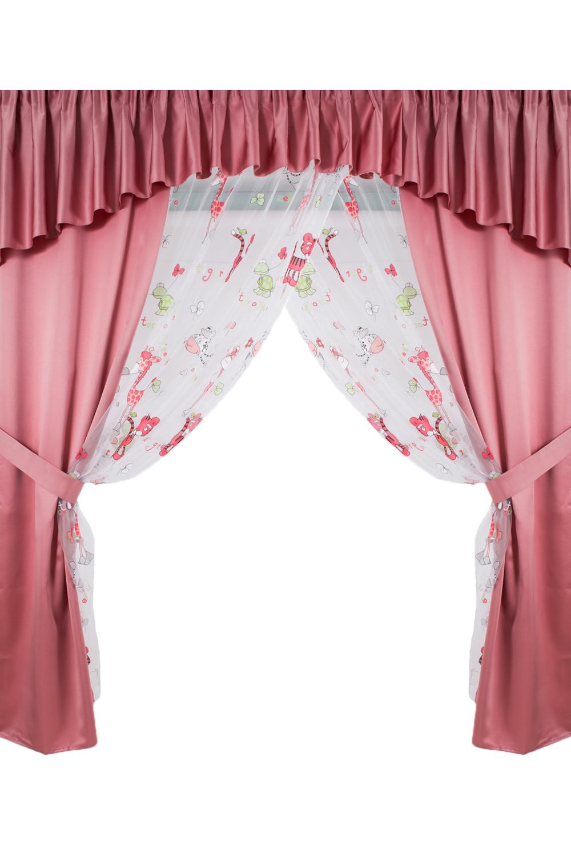 Комплект шторДля комнаты<br>Чудесный комплект для комнаты. Украсьте свой дом с нашими изделиями  В комплекте вуаль 200*215 см 2 шт., ламбрекен 400*50 см, подхваты 2 шт.  Длина карниза до 400 см.  В изделии использованы цвета: белый, розовый<br><br>Карниз: Двухрядный<br>По материалу: Вуаль,Портьерные ткани<br>По рисунку: С принтом (печатью),Цветные<br>По способу крепления: На крючках,С ламбрекеном<br>По стилю: Классические шторы<br>Размеры: До пола<br>Размер : 400*215<br>Материал: Портьерные ткани<br>Количество в наличии: 1