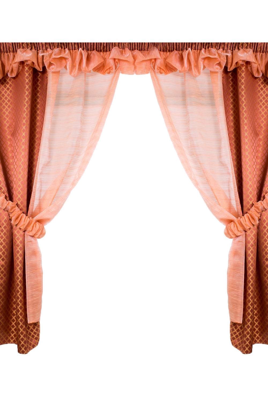 Комплект шторДля комнаты<br>Чудесный комплект для комнаты. Украсьте свой дом с нашими изделиями  В комплекте 2 шторы 150*197 см, 2 подхвата, ламбрекен 200 см.  Длина карниза до 200 см.  В изделии использованы цвета: бежевый, коричневый<br><br>Карниз: Двухрядный<br>По материалу: Вуаль<br>По рисунку: Цветные<br>По способу крепления: На крючках,С ламбрекеном,С подвязами<br>По стилю: Классические шторы<br>Размеры: Ниже подоконника<br>Размер : 200*197<br>Материал: Вуаль<br>Количество в наличии: 1