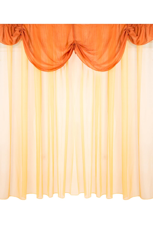 Комплект шторДля комнаты<br>Чудесный комплект для комнаты. Украсьте свой дом с нашими изделиями  В комплекте 2 шторы 300*240 см, 2 подхвата, ламбрекен 200*40 см.  Длина карниза до 200 см.  В изделии использованы цвета: желтый, оранжевый<br><br>Карниз: Двухрядный<br>По материалу: Вуаль<br>По рисунку: Цветные<br>По способу крепления: На крючках,С ламбрекеном,С подвязами<br>Размеры: Ниже подоконника<br>Размер : 300*240<br>Материал: Вуаль<br>Количество в наличии: 1