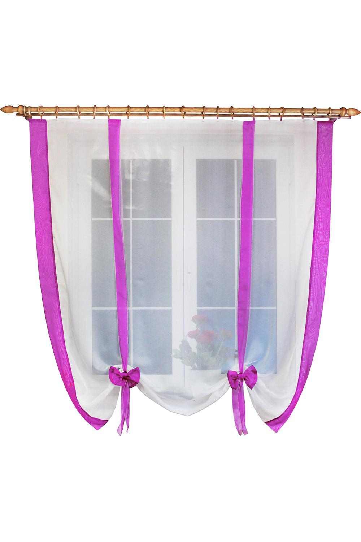 Штора для кухниДля кухни<br>Вы когда-нибудь задумывались, что шторы можно драпировать не только по ширине, но и по высоте Дизайн шторки позволяет Вам самим регулировать высоту подвязывания в зависимости от Ваших предпочтений: открытый подоконник или закрытый. Ленты и отделка в цвет интерьера впишут эту шторку в Вашу кухню. Простой, но в то же время милый и красивый вид шторки будет Вас радовать не менее чем ее цена.   Размер, см: 160х170  Рекомендуемая длинна карниза: до 1,6 метра, 1 ряд.  В изделии использованы цвета: белый, фиолетовый.<br><br>Карниз: Однорядный<br>Отделка края: Лентами<br>По материалу: Органза<br>По рисунку: Однотонные<br>По стилю: Классические шторы<br>Размеры: До подоконника<br>По сезону: Всесезон<br>Размер : 160*170<br>Материал: Органза<br>Количество в наличии: 2