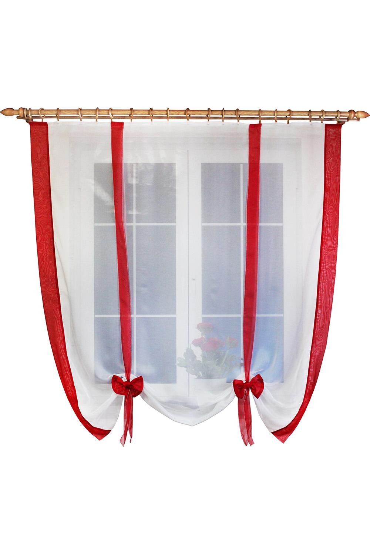 Штора для кухниДля кухни<br>Вы когда-нибудь задумывались, что шторы можно драпировать не только по ширине, но и по высоте Дизайн шторки позволяет Вам самим регулировать высоту подвязывания в зависимости от Ваших предпочтений: открытый подоконник или закрытый. Ленты и отделка в цвет интерьера впишут эту шторку в Вашу кухню. Простой, но в то же время милый и красивый вид шторки будет Вас радовать не менее чем ее цена.   Размер, см: 160х170  Рекомендуемая длинна карниза: до 1,6 метра, 1 ряд.  В изделии использованы цвета: белый, красный.<br><br>Карниз: Однорядный<br>Отделка края: Лентами<br>По материалу: Органза<br>По рисунку: Однотонные<br>По стилю: Классические шторы<br>Размеры: До подоконника<br>По сезону: Всесезон<br>Размер : 160*170<br>Материал: Органза<br>Количество в наличии: 2