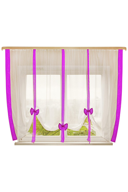 Штора для кухниДля кухни<br>Это пример шторок с вертикальной драпировкой. Дизайн шторки позволяет Вам самим регулировать высоту подвязывания в зависимости от Ваших предпочтений:  открытый подоконник или закрытый, симметрия или ассиметрия. Ленты и отделка в цвет интерьера впишут эту шторку в Вашу комнату. Простой, но в то же время милый и красивый вид шторки будет Вас радовать не менее чем ее цена.   Размер, см: 300х170  Рекомендуемая длинна карниза: от 2 до 3 метров, 1 ряд.  В изделии использованы цвета: белый, фиолетовый.<br><br>Карниз: Однорядный<br>По материалу: Органза<br>По рисунку: Однотонные<br>По стилю: Классические шторы<br>Размеры: До подоконника<br>По сезону: Всесезон<br>Отделка края: С лентами<br>Размер : 300*170<br>Материал: Органза<br>Количество в наличии: 2