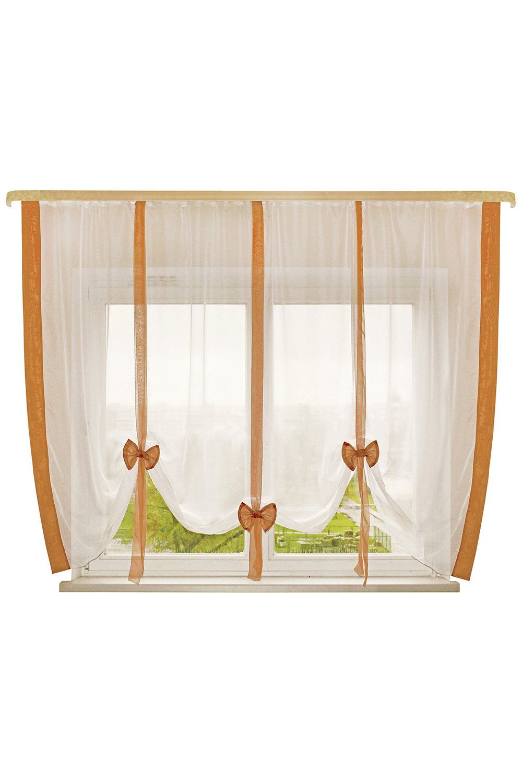 Штора для кухниДля кухни<br>Это пример шторок с вертикальной драпировкой. Дизайн шторки позволяет Вам самим регулировать высоту подвязывания в зависимости от Ваших предпочтений: Открытый подоконник или закрытый, симметрия или ассиметрия. Ленты и отделка в цвет интерьера впишут эту шторку в Вашу комнату. Простой, но в то же время милый и красивый вид шторки будет Вас радовать не менее чем ее цена.  Размер, см: 300х170  Рекомендуемая длинна карниза: от 2 до 3 метров, 1 ряд.  В изделии использованы цвета: белый, коричневый.<br><br>Карниз: Однорядный<br>По материалу: Органза<br>По рисунку: Однотонные<br>По стилю: Классические шторы<br>Размеры: До подоконника<br>По сезону: Всесезон<br>Отделка края: С лентами<br>Размер : 300*170<br>Материал: Органза<br>Количество в наличии: 1