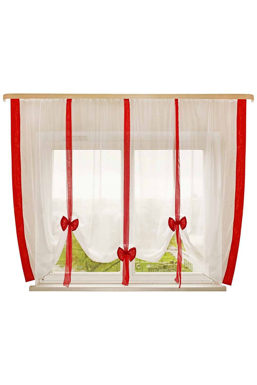 Штора для кухниДля кухни<br>Это пример шторок с вертикальной драпировкой. Дизайн шторки позволяет Вам самим регулировать высоту подвязывания в зависимости от Ваших предпочтений:  открытый подоконник или закрытый, симметрия или ассиметрия. Ленты и отделка в цвет интерьера впишут эту шторку в Вашу комнату. Простой, но в то же время милый и красивый вид шторки будет Вас радовать не менее чем ее цена.   Размер, см: 300х170  Рекомендуемая длинна карниза: от 2 до 3 метров, 1 ряд.  В изделии использованы цвета: белый, красный.<br><br>Карниз: Однорядный<br>Отделка края: Лентами<br>По материалу: Органза<br>По рисунку: Однотонные<br>По стилю: Классические шторы<br>Размеры: До подоконника<br>По сезону: Всесезон<br>Размер : 300*170<br>Материал: Органза<br>Количество в наличии: 1