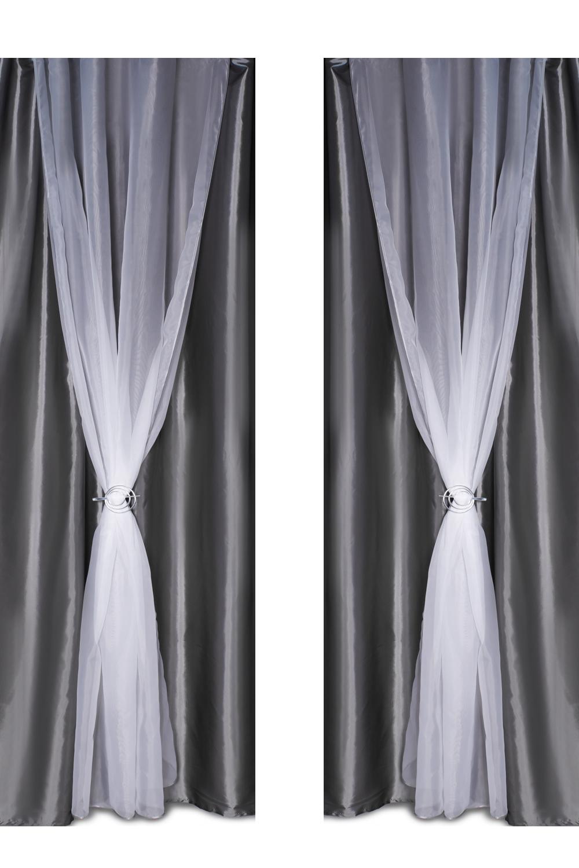 Шторы для комнатыДля комнаты<br>Шторы – это основной элемент интерьера, они всегда в центре внимания, несмотря на богатство мебели. При выборе штор самое первое и, пожалуй, главное – определится с подбором ткани, ее цветом и фактурой.  Шторы для гостинной изготавливаются из более плотных тканей, таких как жакард, тафта, велюр. Они могут дополнятся ламбрекеном со всевозможными декоративными элементами: стразами, бахромой, лентами. В предложенных моделях тюль не входит в комплект.  Размер: 440*250 см.  В изделии использованы цвета: серый, белый<br><br>Карниз: Двухрядный<br>По материалу: Тканевые<br>По рисунку: Однотонные<br>По стилю: Классические шторы,Раздвижные шторы<br>Размеры: До пола<br>Размер : 440*250<br>Материал: Тафта<br>Количество в наличии: 2