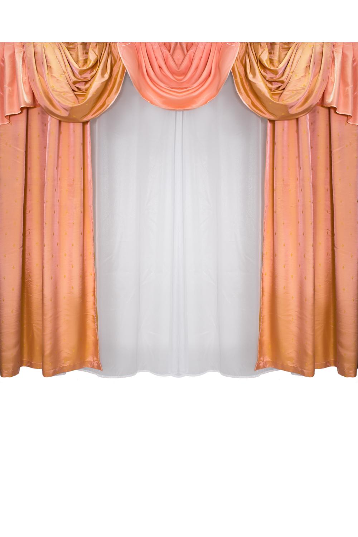 Шторы для комнатыДля комнаты<br>Шторы для комнаты  Рекомендуемая длина карниза: 280-300 см  Цвет: персиковый, белый<br><br>Карниз: Трехрядный<br>По материалу: Портьерные ткани<br>По рисунку: Цветные<br>По способу крепления: С ламбрекеном<br>По стилю: Классические шторы<br>Размеры: До пола<br>Размер : 300*250<br>Материал: Портьерные ткани<br>Количество в наличии: 1