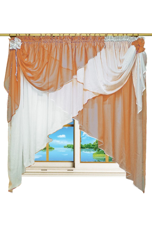 Штора для кухниДля кухни<br>Представленные шторы для кухни и детской изготавливаются с использованием единой стяжной ленты, собирающей множество элементов шторы, что позволяет их легко навешивать и снимать. Ведь шторы для кухни часто приходиться стирать. Такие шторы можно использовать в детской комнате, они создадут атмосферу легкости и воздушности.   Размер штор: 400*180 см.  В изделии использованы цвета: белый, коричневый.<br><br>Карниз: Однорядный<br>По материалу: Органза<br>По рисунку: Однотонные<br>Размеры: До подоконника<br>Размер : 400*180<br>Материал: Органза<br>Количество в наличии: 2