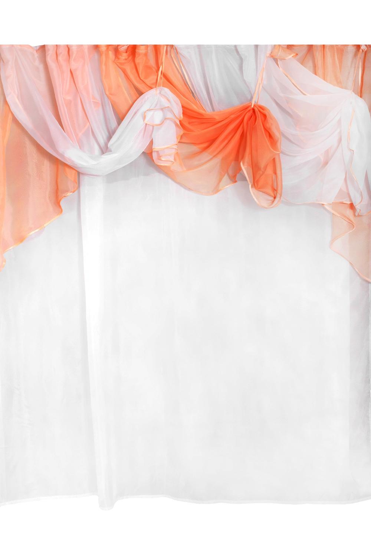 Шторы для комнатыДля комнаты<br>Комплект штор для комнаты  Рекомендуемая длина карниза: 350-400 см  Цвет: персиковый, белый<br><br>Карниз: Двухрядный<br>По материалу: Вуаль<br>По рисунку: Цветные<br>По способу крепления: На крючках<br>По стилю: Классические шторы<br>Размеры: До пола<br>Размер : 400*250<br>Материал: Вуаль<br>Количество в наличии: 1