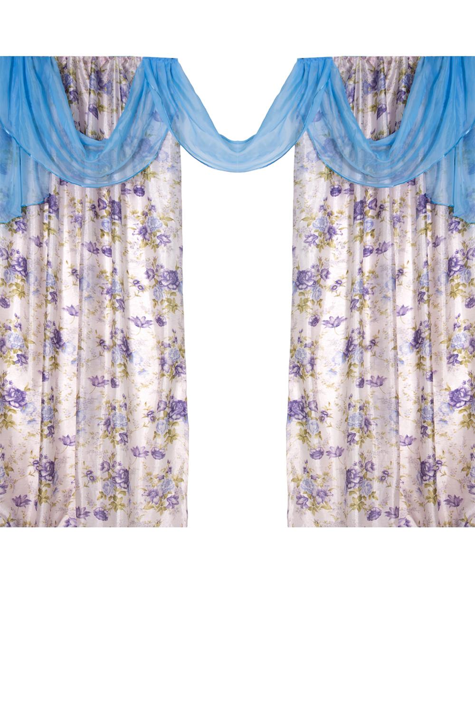 Комплект шторДля комнаты<br>Комплект штор для комнаты. Без тюли.  Рекомендуемая длина карниза: 250-300 см  Цвет: белый, голубой, фиолетовый, сиреневый<br><br>Карниз: Двухрядный<br>По рисунку: Цветные,Растительные мотивы,С принтом (печатью),Цветочные<br>По способу крепления: На крючках<br>По стилю: Классические шторы<br>Размеры: До пола<br>Размер : 300*250<br>Материал: Полиэстер<br>Количество в наличии: 1