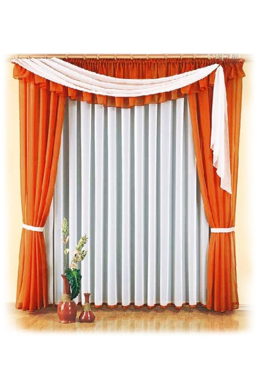 Шторы для комнатыДля комнаты<br>Шторы – это основной элемент интерьера, они всегда в центре внимания, несмотря на богатство мебели. При выборе штор самое первое и, пожалуй, главное – определится с подбором ткани, ее цветом и фактурой.   Шторы для гостинной изготавливаются из более плотных тканей, таких как жакард, тафта, велюр. Они могут дополнятся ламбрекеном со всевозможными декоративными элементами: стразами, бахромой, лентами.   Размер штор: 300*250 см; ламбрекен 6м  В изделии использованы цвета: морковный, белый.<br><br>Карниз: Двухрядный<br>По материалу: Органза<br>По рисунку: Однотонные<br>По способу крепления: С ламбрекеном<br>По стилю: Раздвижные шторы<br>Размеры: До пола<br>Размер : 300*250<br>Материал: Органза<br>Количество в наличии: 2