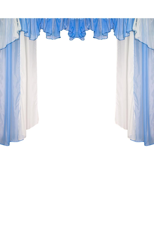 Шторы для комнатыДля комнаты<br>Комплект штор для комнаты   Рекомендуемая длина карниза: 300-350 см  Цвет: голубой, белый<br><br>Карниз: Двухрядный<br>По материалу: Вуаль<br>По рисунку: Цветные<br>По способу крепления: На крючках<br>По стилю: Классические шторы<br>Размеры: До пола<br>Размер : 350*250<br>Материал: Вуаль<br>Количество в наличии: 1