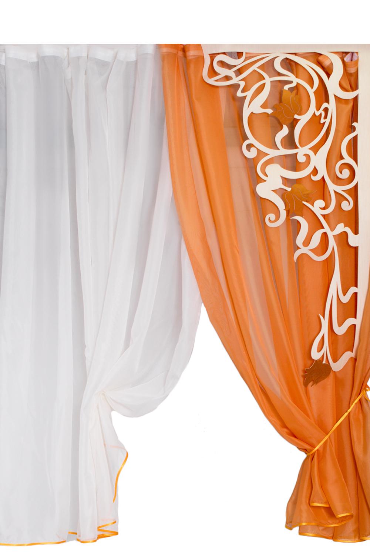 Комплект шторДля комнаты<br>Шторы для комнаты  В комплекте штора 3,0*2,6 м, тюль 2,8*1,8м, ламбрикен 0,55*1,55м Рекомендуемая длина карниза: 280-300 см  Комплект без тюли.  Цвет: белый, оранжевый<br><br>По материалу: Портьерные ткани<br>По рисунку: Цветные<br>По способу крепления: С ламбрекеном<br>По стилю: Классические шторы<br>Размеры: До пола<br>Размер : 300*260<br>Материал: Портьерные ткани<br>Количество в наличии: 1
