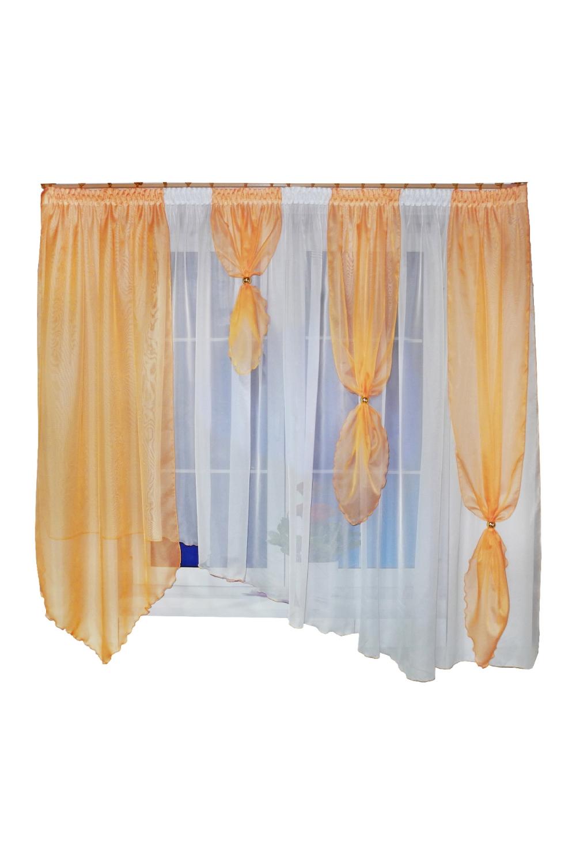 Шторы для кухниДля кухни<br>Представленные шторы для кухни и детской изготавливаются с использованием единой стяжной ленты, собирающей множество элементов шторы, что позволяет их легко навешивать и снимать. Ведь шторы для кухни часто приходиться стирать. Такие шторы можно использовать в детской комнате, они создадут атмосферу легкости и воздушности.   Размер штор: 400*170 см.  В изделии использованы цвета: бежевый, белый.<br><br>Карниз: Однорядный<br>По материалу: Органза<br>По рисунку: Однотонные<br>Размеры: Ниже подоконника<br>Размер : 400*170<br>Материал: Органза<br>Количество в наличии: 2
