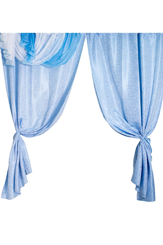 Комплект шторДля комнаты<br>Комплект штор для комнаты.  В комплекте:  шторы 250 * 140 см. - 2 шт., ламбрекен - 35*200 см.  Комплект без тюля.  Рекомендуемая длина карниза: 220-250 см  Цвет: голубой, белый<br><br>Карниз: Трехрядный<br>По материалу: Портьерные ткани<br>По рисунку: Однотонные<br>По способу крепления: С ламбрекеном<br>По стилю: Классические шторы<br>Размеры: До пола<br>Размер : 280*250<br>Материал: Портьерные ткани<br>Количество в наличии: 1