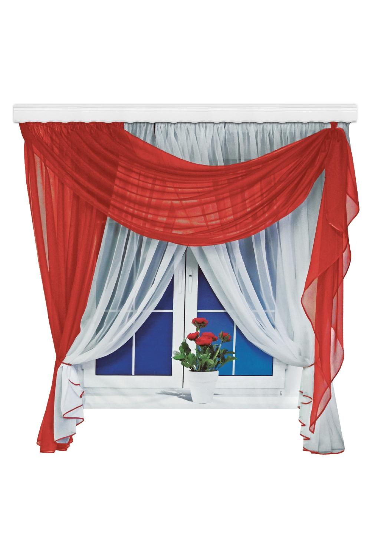 Шторы для кухниДля кухни<br>Представленные шторы для кухни и детской изготавливаются с использованием единой стяжной ленты, собирающей множество элементов шторы, что позволяет их легко навешивать и снимать. Ведь шторы для кухни часто приходиться стирать. Такие шторы можно использовать в детской комнате, они создадут атмосферу легкости и воздушности.   Размер штор: 500*180 см Рекомендуемая длинна карниза: до 250 см.  В изделии использованы цвета: красный, белый<br><br>Карниз: Двухрядный<br>По материалу: Органза<br>По рисунку: Однотонные<br>Размеры: Ниже подоконника<br>Размер : 500*180<br>Материал: Органза<br>Количество в наличии: 2