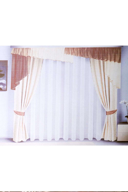Комплект шторДля комнаты<br>Чудесные шторы для комнаты. Украсте свой дом с нашими изделиями  Цвет: коричневый, белый.  В комплект входят: Штора -  250*140 - 2шт,  Ламбрекен - 90*650<br><br>Карниз: Двухрядный<br>По материалу: Портьерные ткани<br>По рисунку: Однотонные<br>По способу крепления: С ламбрекеном<br>Размеры: До пола<br>Размер : 280*250<br>Материал: Портьерные ткани<br>Количество в наличии: 1