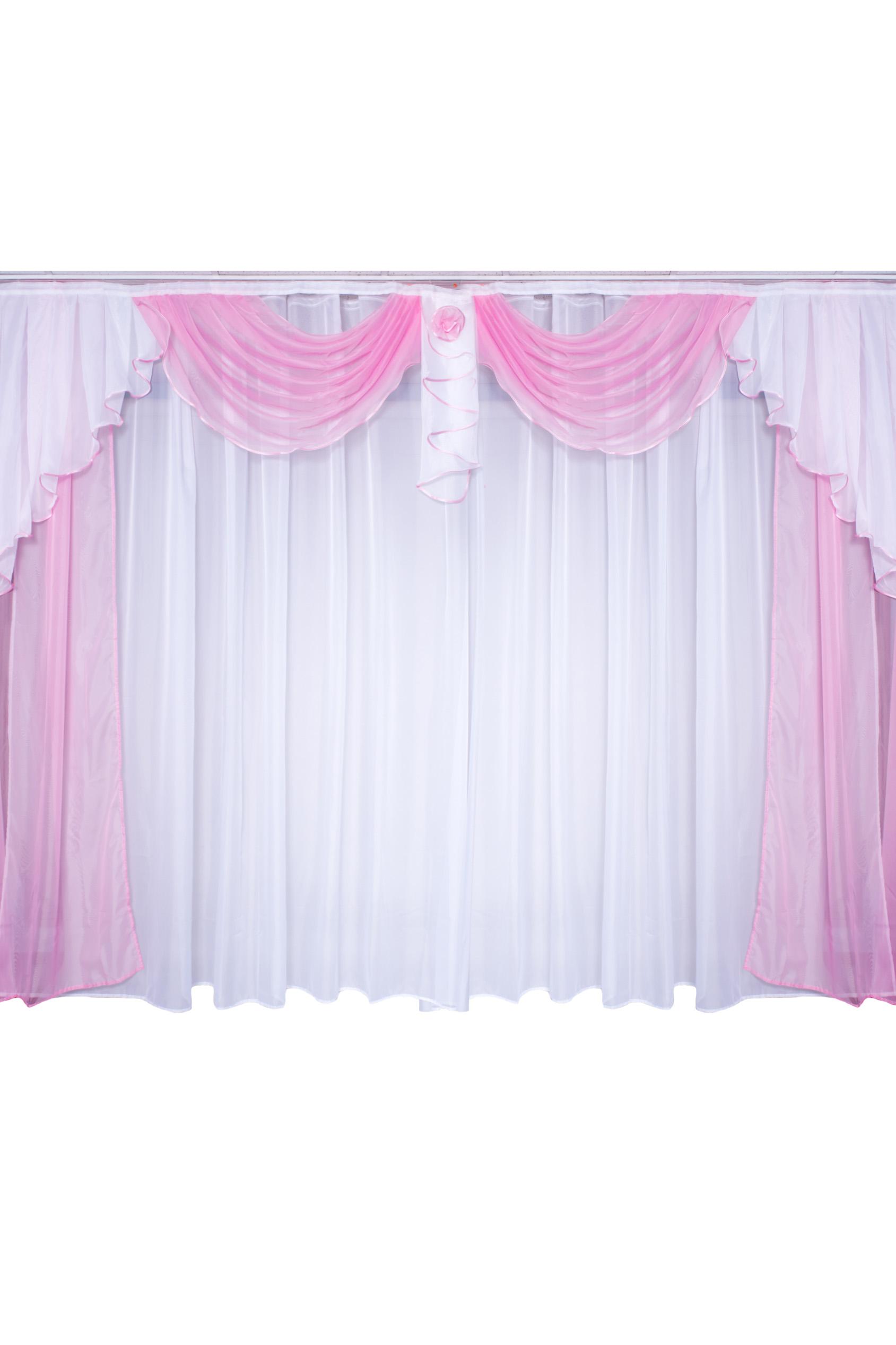 Комплект шторДля комнаты<br>Чудесные шторы для комнаты. Украсте свой дом с нашими изделиями  Цвет: розовый, белый.  В комплект входят: Шторы -  150*250 - 2шт Вуаль - 500*250<br><br>Карниз: Трехрядный<br>По материалу: Вуаль<br>По рисунку: Однотонные<br>Размеры: До пола<br>Размер : 300*250<br>Материал: Вуаль<br>Количество в наличии: 1