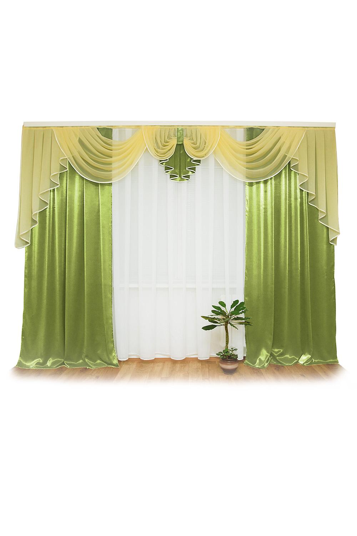 Шторы для комнатыДля комнаты<br>Шторы – это основной элемент интерьера, они всегда в центре внимания, несмотря на богатство мебели. При выборе штор самое первое и, пожалуй, главное – определится с подбором ткани, ее цветом и фактурой.  Шторы для гостинной изготавливаются из более плотных тканей, таких как жакард, тафта, велюр. Они могут дополнятся ламбрекеном со всевозможными декоративными элементами: стразами, бахромой, лентами. В предложенных моделях тюль не входит в комплект.   Размер: 400*250 см., ламбрекен 3,5 м.  В изделии использованы цвета: зеленый, белый, желтый.<br><br>Карниз: Двухрядный<br>Материал: Тканевые<br>Рисунок: Однотонные<br>Стиль: Классические шторы,Раздвижные шторы<br>Размер: До пола<br>Сезон: Всесезон<br>Размер : 400*250<br>Материал: Тафта<br>Количество в наличии: 2