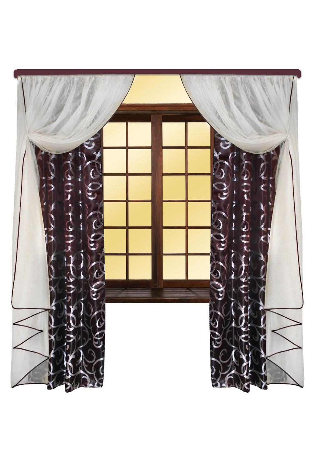 Шторы для комнатыДля комнаты<br>Шторы – это основной элемент интерьера, они всегда в центре внимания, несмотря на богатство мебели. При выборе штор самое первое и, пожалуй, главное – определится с подбором ткани, ее цветом и фактурой.   Шторы для гостинной изготавливаются из более плотных тканей, таких как жакард, тафта, велюр. Они могут дополнятся ламбрекеном со всевозможными декоративными элементами: стразами, бахромой, лентами.  Размер штор: см (150*250)*2 Тюль: см (250*250)*2  В изделии использованы цвета: коричневый, белый<br><br>Карниз: Двухрядный<br>Отделка края: С лентами<br>По материалу: Портьерные ткани<br>По рисунку: С принтом,Цветные<br>По стилю: Классические шторы,Раздвижные шторы<br>Размеры: До пола<br>Размер : 300*250<br>Материал: Портьерные ткани<br>Количество в наличии: 1