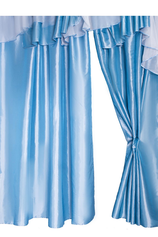 Шторы для комнатыДля комнаты<br>Шторы – это основной элемент интерьера, они всегда в центре внимания, несмотря на богатство мебели. При выборе штор самое первое и, пожалуй, главное – определится с подбором ткани, ее цветом и фактурой.  Шторы для гостинной изготавливаются из более плотных тканей, таких как жакард, тафта, велюр. Они могут дополнятся ламбрекеном со всевозможными декоративными элементами: стразами, бахромой, лентами. В предложенных моделях тюль не входит в комплект.   Размер: 400*250 см., ламбрекен 600 см.  В изделии использованы цвета: голубой, белый<br><br>Карниз: Двухрядный<br>Отделка края: С лентами<br>По материалу: Тканевые<br>По рисунку: Однотонные<br>По способу крепления: С ламбрекеном<br>По стилю: Классические шторы,Раздвижные шторы<br>Размеры: До пола<br>Размер : 400*250<br>Материал: Тафта<br>Количество в наличии: 1