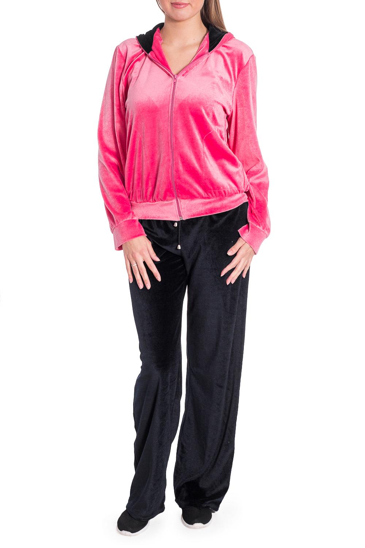 КостюмСпортивные костюмы<br>Удобный костюм состоит из куртки с капюшоном и брюк. Модель выполнена из мягкого велюра. Отличный выбор для занятий спортом или активного отдыха.  В изделии использованы цвета: коралловый, черный  Рост девушки-фотомодели 170 см<br><br>Застежка: С молнией<br>По длине: Макси<br>По рисунку: Цветные<br>По сезону: Зима,Осень,Весна<br>По силуэту: Полуприталенные<br>По стилю: Повседневный стиль,Спортивный стиль<br>По форме: Костюм двойка<br>По элементам: С капюшоном,С карманами,С манжетами<br>Рукав: Длинный рукав<br>Размер : 42-44,46-48,48-50<br>Материал: Велюр<br>Количество в наличии: 6