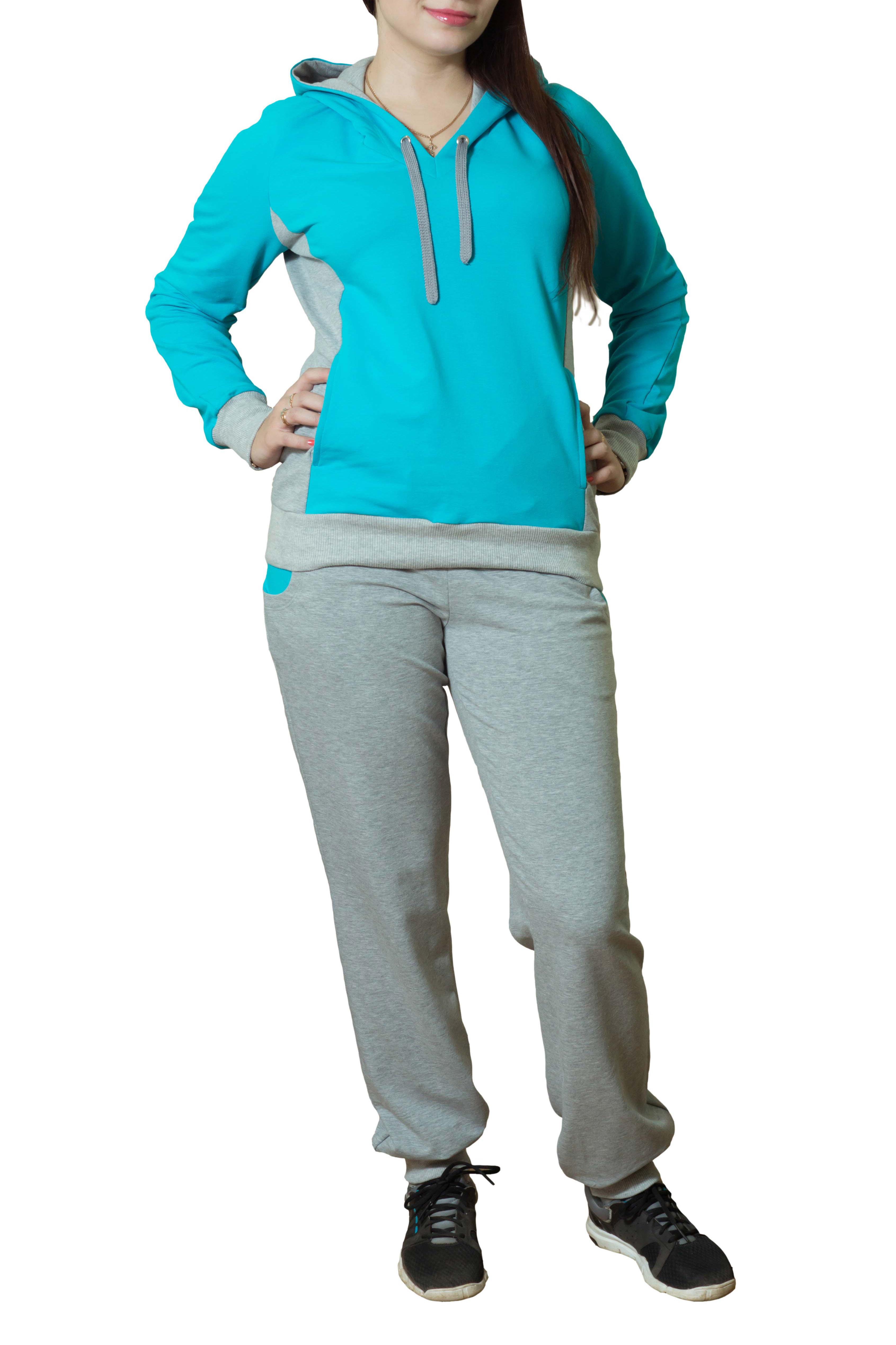 Спортивный костюмСпортивные костюмы<br>Женский спортивный костюм с капюшоном и длинными рукавами. Модель выполнена из хлопковой ткани. Отличный выбор для активного отдыха.  Цвет: серый, голубой<br><br>По длине: Макси<br>По образу: Город<br>По рисунку: Цветные<br>По сезону: Весна,Осень<br>По силуэту: Полуприталенные<br>По форме: Костюм двойка,Брюки<br>По элементам: С капюшоном<br>Рукав: Длинный рукав<br>По материалу: Хлопок<br>По стилю: Спортивный стиль,Молодежный стиль,Повседневный стиль<br>Размер : 44,46,48,50<br>Материал: Трикотаж<br>Количество в наличии: 4
