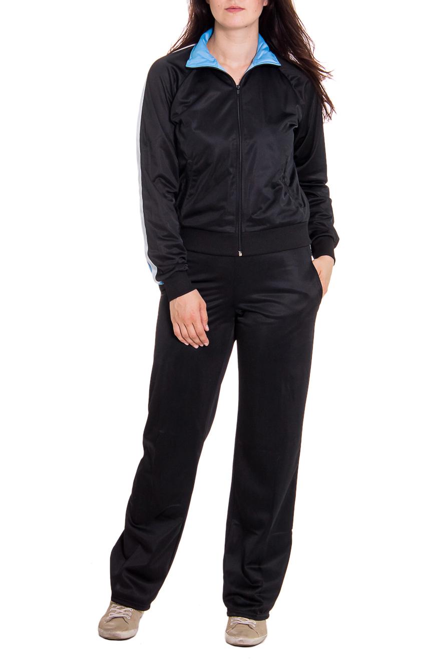 Спортивный костюмСпортивные костюмы<br>Женский спортивный костюм из эластичной ткани. Отличный выбор для занятий спортом или активного отдыха.  Рост девушки-фотомодели - 180 см  Цвет: черный, голубой, белый<br><br>Воротник: Стойка<br>По длине: Макси<br>По материалу: Синтетические волокна<br>По рисунку: Однотонные<br>По силуэту: Полуприталенные<br>По стилю: Спортивный стиль,Молодежный стиль,Повседневный стиль<br>По форме: Спортивные брюки,Костюм двойка<br>По элементам: С карманами<br>Застежка: С молнией<br>Рукав: Длинный рукав<br>По сезону: Осень,Весна<br>Размер : 46<br>Материал: Трикотаж<br>Количество в наличии: 1