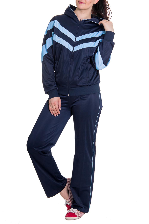 Спортивный костюмСпортивные костюмы<br>Женский спортивный костюм из эластичной ткани. Отличный выбор для занятий спортом или активного отдыха.  Рост девушки-фотомодели - 180 см  Цвет: синий, голубой<br><br>По длине: Макси<br>По образу: Спорт<br>По рисунку: Цветные<br>По сезону: Зима,Осень,Весна<br>По силуэту: Свободные<br>По стилю: Спортивный стиль<br>По форме: Брюки,Костюм двойка<br>По элементам: С капюшоном,С карманами,С манжетами<br>Застежка: С молнией<br>Рукав: Длинный рукав<br>Размер : 46<br>Материал: Полиэстер<br>Количество в наличии: 1