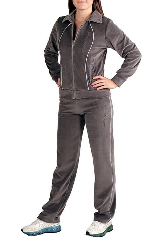 Спортивный костюмСпортивные костюмы<br>Удобный спортивный костюм. Модель выполнена из мягкого велюра. Отличный выбор для занятий спортом или активного отдыха.  Цвет: серый  Ростовка изделия 170 см.<br><br>Воротник: Стойка<br>Застежка: С молнией<br>По длине: Макси<br>По материалу: Трикотаж<br>По образу: Город,Спорт<br>По рисунку: Однотонные<br>По силуэту: Полуприталенные<br>По стилю: Повседневный стиль,Спортивный стиль<br>По форме: Брюки,Костюм двойка<br>По элементам: С декором,С карманами,С манжетами<br>Рукав: Длинный рукав<br>По сезону: Осень,Весна<br>Размер : 46,48,50<br>Материал: Велюр<br>Количество в наличии: 5