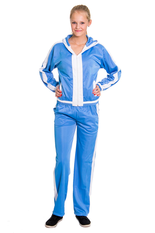 Спортивный костюмСпортивные костюмы<br>Женский спортивный костюм из эластичной ткани. Отличный выбор для занятий спортом или активного отдыха.  Рост девушки-фотомодели - 176 см  Цвет: голубой, белый.<br><br>По длине: Макси<br>По образу: Город,Спорт<br>По рисунку: Однотонные,Цветные<br>По силуэту: Полуприталенные<br>По стилю: Повседневный стиль<br>По форме: Брюки,Костюм двойка<br>По элементам: С капюшоном,С карманами<br>Застежка: С молнией<br>Рукав: Длинный рукав<br>По сезону: Осень,Весна<br>Размер : 44,46,48,50<br>Материал: Полиэстер<br>Количество в наличии: 1