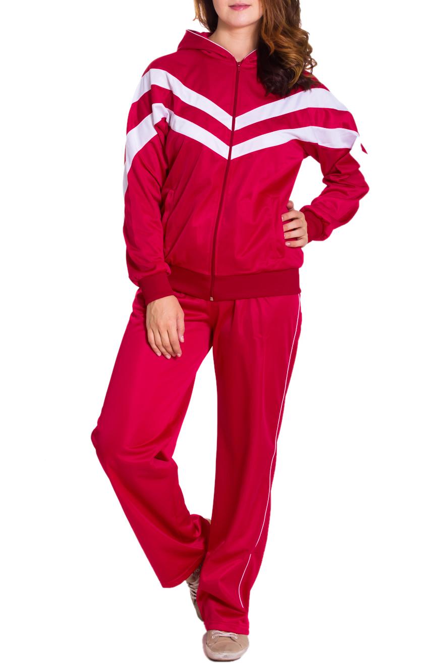 Спортивный костюмСпортивные костюмы<br>Женский спортивный костюм из эластичной ткани. Отличный выбор для занятий спортом или активного отдыха.  Цвет: красный, белый  Рост девушки-фотомодели 180 см<br><br>По длине: Макси<br>По рисунку: Цветные<br>По силуэту: Свободные<br>По стилю: Спортивный стиль<br>По форме: Брюки,Костюм двойка<br>По элементам: С капюшоном,С карманами,С манжетами<br>Застежка: С молнией<br>Рукав: Длинный рукав<br>По сезону: Осень,Весна<br>Размер : 46<br>Материал: Полиэстер<br>Количество в наличии: 10