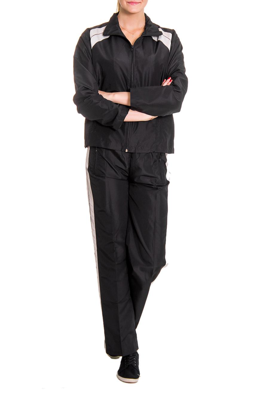 Спортивный костюмСпортивные костюмы<br>Женский спортивный костюм из эластичной ткани. Отличный выбор для занятий спортом или активного отдыха.  Рост девушки-фотомодели - 176 см  Цвет: черный<br><br>По длине: Макси<br>По рисунку: Однотонные,Цветные<br>По сезону: Весна,Осень<br>По силуэту: Полуприталенные<br>По форме: Костюм двойка,Спортивные брюки<br>По элементам: С карманами<br>Рукав: Длинный рукав<br>По стилю: Повседневный стиль<br>Застежка: С молнией<br>Размер : 44,46,48<br>Материал: Плащевая ткань<br>Количество в наличии: 6