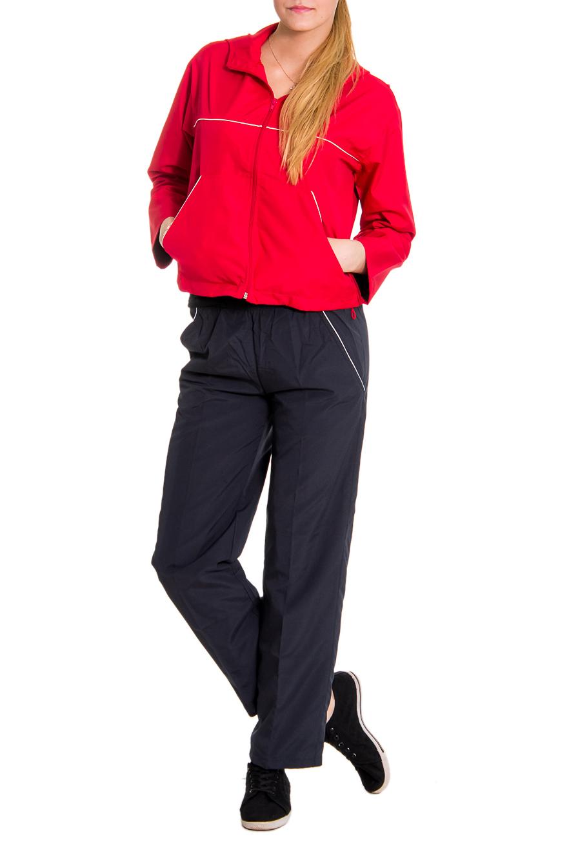 Спортивный костюмСпортивные костюмы<br>Женский спортивный костюм из эластичной ткани. Отличный выбор для занятий спортом или активного отдыха.  Рост девушки-фотомодели - 176 см  Цвет: красный, черный<br><br>По длине: Макси<br>По рисунку: Однотонные,Цветные<br>По сезону: Весна,Осень<br>По силуэту: Полуприталенные<br>По форме: Костюм двойка,Брюки<br>По элементам: С капюшоном,С карманами<br>Рукав: Длинный рукав<br>По стилю: Повседневный стиль<br>Застежка: С молнией<br>Размер : 44,46<br>Материал: Плащевая ткань<br>Количество в наличии: 3
