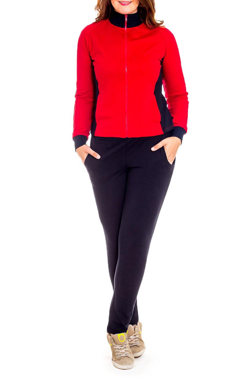 Спортивный костюмСпортивные костюмы<br>Женский спортивный костюм с воротником quot;стойкойquot; и длинными рукавами на манжетах. Модель выполнена из мягкого трикотажа. Отличный выбор для активного отдыха.  В изделии использованы цвета: красный, черный.  Рост девушки-фотомодели 180 см.<br><br>Воротник: Стойка<br>Застежка: С молнией<br>По длине: Макси<br>По материалу: Трикотаж<br>По рисунку: Цветные<br>По сезону: Весна,Зима,Осень,Всесезон<br>По силуэту: Приталенные<br>По стилю: Повседневный стиль,Спортивный стиль<br>По форме: Костюм двойка,Спортивные брюки<br>По элементам: С воротником,С декором,С карманами,С манжетами<br>Рукав: Длинный рукав<br>Размер : 46,48,50,52,54<br>Материал: Трикотаж<br>Количество в наличии: 11