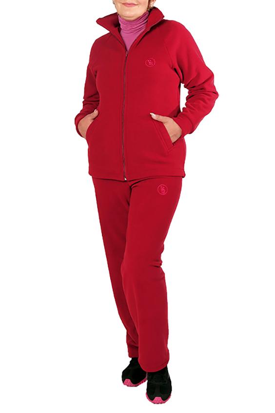 Спортивный костюмСпортивные костюмы<br>Удобный спортивный костюм. Модель выполнена из мягкого флиса. Отличный выбор для занятий спортом или активного отдыха.  Цвет: красный  Ростовка изделия 170 см.<br><br>Воротник: Стойка<br>Застежка: С молнией<br>По длине: Макси<br>По материалу: Флис<br>По рисунку: Однотонные<br>По силуэту: Полуприталенные<br>По стилю: Повседневный стиль,Спортивный стиль<br>По форме: Костюм двойка,Спортивные брюки<br>По элементам: С декором,С карманами,С манжетами<br>Рукав: Длинный рукав<br>По сезону: Осень,Весна,Зима<br>Размер : 50,52,54<br>Материал: Велюр<br>Количество в наличии: 3