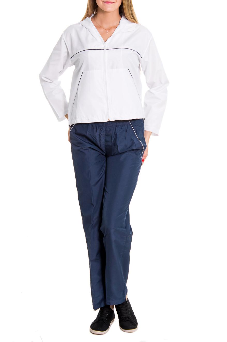 Спортивный костюмСпортивные костюмы<br>Женский спортивный костюм из эластичной ткани. Отличный выбор для занятий спортом или активного отдыха.  Рост девушки-фотомодели - 176 см  Цвет: синий, белый<br><br>По длине: Макси<br>По рисунку: Цветные<br>По сезону: Весна,Осень<br>По силуэту: Полуприталенные<br>По форме: Костюм двойка,Спортивные брюки<br>По элементам: С капюшоном,С карманами<br>Рукав: Длинный рукав<br>Застежка: С молнией<br>По стилю: Спортивный стиль<br>Размер : 44,46,50<br>Материал: Плащевая ткань<br>Количество в наличии: 14