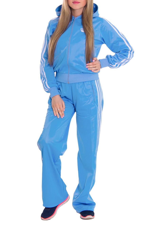 Спортивный костюмСпортивные костюмы<br>Женский спортивный костюм из эластичной ткани. Отличный выбор для занятий спортом или активного отдыха.  Рост девушки-фотомодели 164 см  Цвет: голубой<br><br>По длине: Макси<br>По материалу: Синтетические волокна<br>По силуэту: Свободные<br>По стилю: Спортивный стиль<br>По форме: Костюм двойка,Спортивные брюки<br>По элементам: С капюшоном,С карманами,С манжетами<br>Застежка: С молнией<br>Рукав: Длинный рукав<br>По сезону: Осень,Весна<br>По рисунку: Однотонные<br>Размер : 44,46,50<br>Материал: Полиэстер<br>Количество в наличии: 6