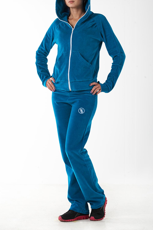 Спортивный костюмСпортивные костюмы<br>Удобный спортивный костюм. Модель выполнена из мягкого велюра. Отличный выбор для занятий спортом или активного отдыха.  Цвет: синий  Ростовка изделия 170 см.<br><br>Воротник: Стойка<br>Застежка: С молнией<br>По длине: Макси<br>По рисунку: Однотонные<br>По силуэту: Полуприталенные<br>По стилю: Повседневный стиль,Спортивный стиль<br>По форме: Костюм двойка,Спортивные брюки<br>По элементам: С декором,С капюшоном,С карманами,С манжетами<br>Рукав: Длинный рукав<br>По сезону: Осень,Весна,Зима<br>Размер : 46<br>Материал: Велюр<br>Количество в наличии: 1