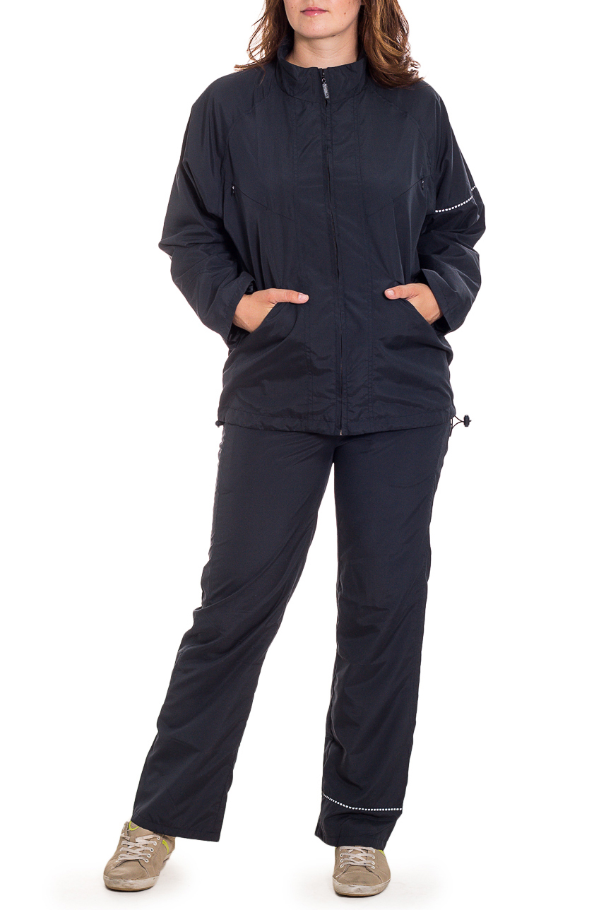 Спортивный костюмСпортивные костюмы<br>Женский спортивный костюм из плащевой ткани. Отличный выбор для занятий спортом или активного отдыха.  Цвет: черный  Рост девушки-фотомодели 180 см.<br><br>Воротник: Стойка<br>Застежка: С молнией<br>По длине: Макси<br>По материалу: Плащевая ткань<br>По рисунку: Однотонные<br>По силуэту: Свободные<br>По стилю: Повседневный стиль<br>По форме: Костюм двойка,Спортивные брюки<br>По элементам: С карманами<br>Рукав: Длинный рукав<br>По сезону: Осень,Весна<br>Размер : 44,46<br>Материал: Плащевая ткань<br>Количество в наличии: 8