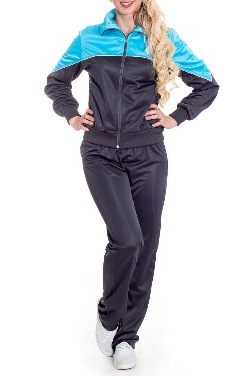 Спортивный костюмСпортивные костюмы<br>Женский спортивный костюм из эластичного материала. Отличный выбор для занятий спортом или активного отдыха.  В изделии использованы цвета: серый, голубой  Рост девушки-фотомодели 170 см.<br><br>Воротник: Стойка<br>Застежка: С молнией<br>По длине: Макси<br>По материалу: Трикотаж<br>По рисунку: Цветные<br>По сезону: Весна,Зима,Лето,Осень,Всесезон<br>По силуэту: Свободные<br>По стилю: Спортивный стиль<br>По форме: Костюм двойка,Спортивные брюки<br>По элементам: С карманами,С манжетами<br>Рукав: Длинный рукав<br>Размер : 44,46,54<br>Материал: Полиэстер<br>Количество в наличии: 5