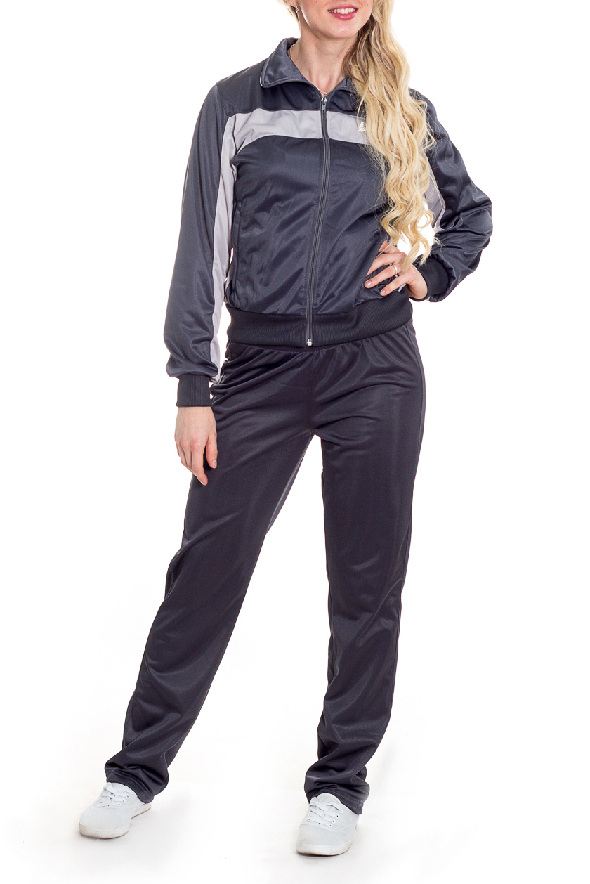 Спортивный костюмСпортивные костюмы<br>Женский спортивный костюм из эластичного материала. Отличный выбор для занятий спортом или активного отдыха.  Цвет: серый  Рост девушки-фотомодели 170 см.<br><br>Воротник: Стойка<br>Застежка: С молнией<br>По длине: Макси<br>По материалу: Трикотаж<br>По рисунку: Цветные<br>По сезону: Весна,Зима,Лето,Осень,Всесезон<br>По силуэту: Свободные<br>По стилю: Спортивный стиль<br>По форме: Брюки,Костюм двойка<br>По элементам: С карманами,С манжетами<br>Рукав: Длинный рукав<br>Размер : 42,44,46,48,50,52<br>Материал: Полиэстер<br>Количество в наличии: 12