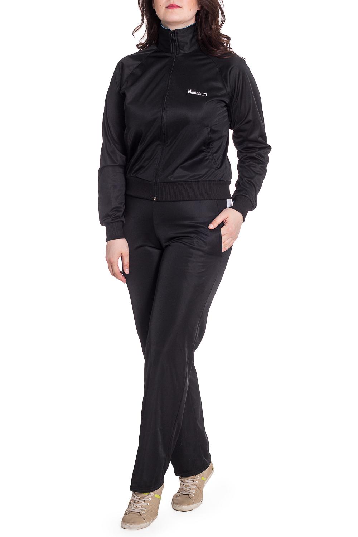 Спортивный костюмСпортивные костюмы<br>Женский спортивный костюм из эластичной ткани. Отличный выбор для занятий спортом или активного отдыха.  В изделии использованы цвете: черный, голубой, белый  Рост девушки-фотомодели 180 см<br><br>Воротник: Стойка<br>Застежка: С молнией<br>По длине: Макси<br>По материалу: Трикотаж<br>По рисунку: Цветные<br>По силуэту: Полуприталенные<br>По стилю: Повседневный стиль,Спортивный стиль<br>По форме: Костюм двойка<br>По элементам: С карманами,С манжетами<br>Рукав: Длинный рукав<br>По сезону: Осень,Весна<br>Размер : 48<br>Материал: Полиэстер<br>Количество в наличии: 1