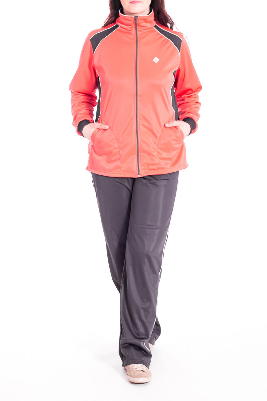 Спортивный костюмСпортивные костюмы<br>Женский спортивный костюм из эластичного материала. Отличный выбор для занятий спортом или активного отдыха.В изделии использованы цвета: персиковый, серыйРост девушки-фотомодели 180 см.<br><br>Воротник: Стойка<br>Застежка: С молнией<br>Рукав: Длинный рукав<br>Материал: Трикотаж<br>Рисунок: Цветные<br>Сезон: Весна,Осень<br>Силуэт: Полуприталенные<br>Стиль: Повседневный стиль,Спортивный стиль<br>Форма: Костюм двойка<br>Элементы: С карманами,С манжетами<br>Размер : 50,52,54,56,58<br>Материал: Полимер<br>Количество в наличии: 10