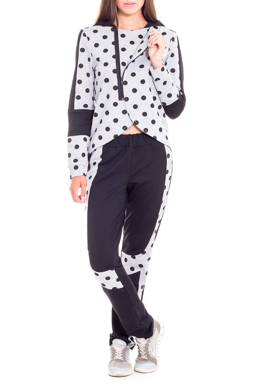 Костюм спортивныйСпортивные костюмы<br>Молодежный спортивный костюм. Куртка на запах с застежкой на молнию. Капюшон и вставки по рукаву-из контрастной ткани. Низ куртки- ассиметричный.  В изделии использованы цвета: серый, черный  Рост девушки-фотомодели 170 см.<br><br>Застежка: С молнией<br>По длине: Макси<br>По материалу: Трикотаж,Хлопок<br>По образу: Спорт<br>По рисунку: С принтом,Цветные,В горошек<br>По силуэту: Полуприталенные<br>По стилю: Повседневный стиль,Спортивный стиль<br>По форме: Брюки,Костюм двойка<br>По элементам: С капюшоном,С карманами<br>Рукав: Длинный рукав<br>Горловина: С- горловина<br>По сезону: Осень,Весна<br>Размер : 42,44,46,48,50<br>Материал: Трикотаж<br>Количество в наличии: 13